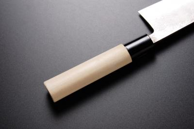 Magnolia handle with plastic bolster for Santoku knife [Nashiji]