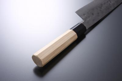 Octagonal handle with baffalo horn bolster for Sashimi knife [Nashiji]